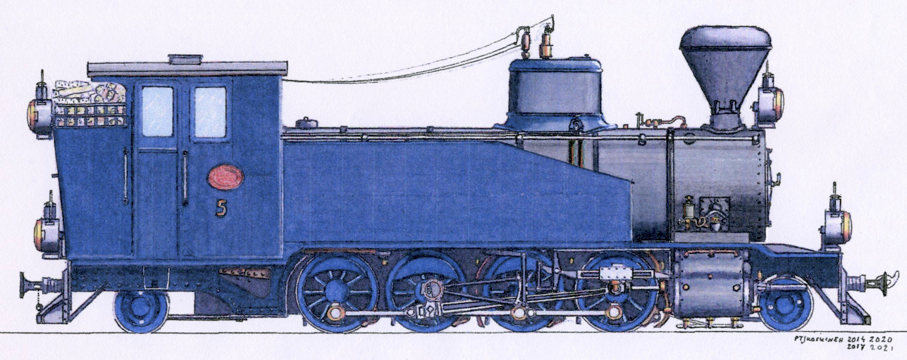Drawing of the HKR5 steam locomotive