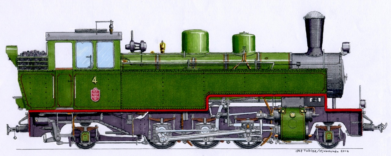 Drawing of the JR4 steam locomotive