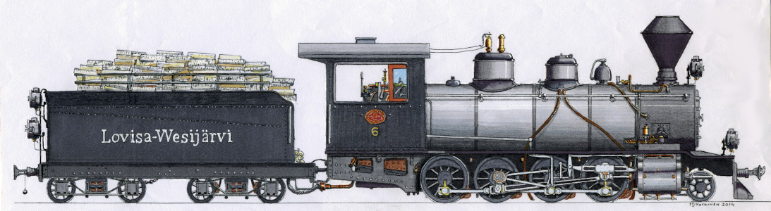 Drawing of the LWR 6 steam locomotive